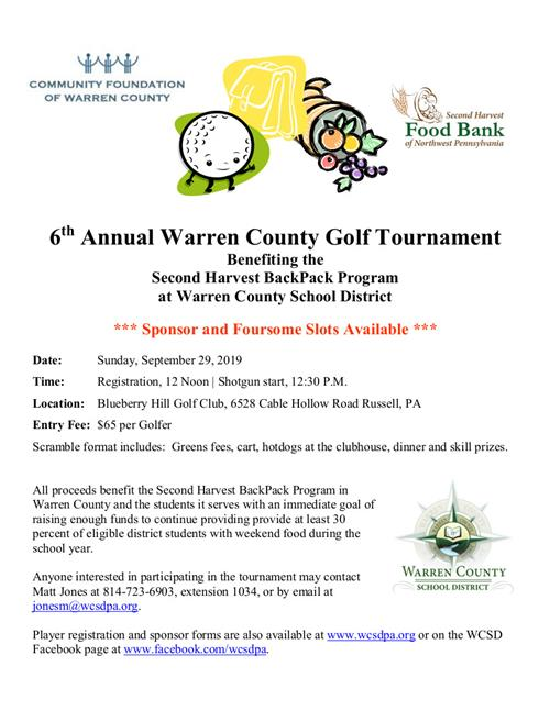 6th Annual Golf Tournament benefiting the Second Harvest